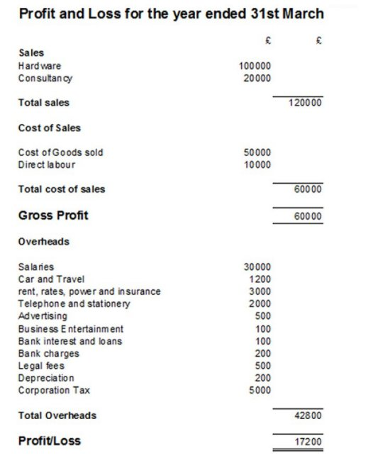 Example of a Profit and Loss Statement