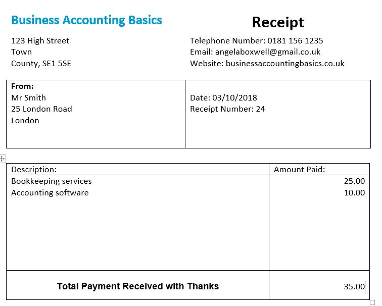 Word Receipt Template Free Template And Example
