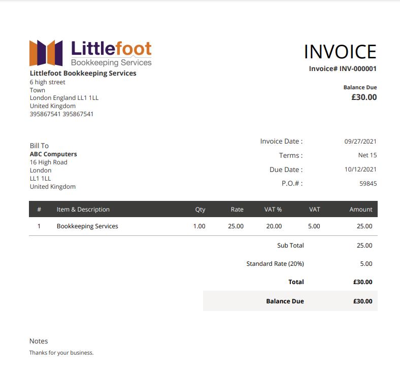 Zoho Books sales invoice