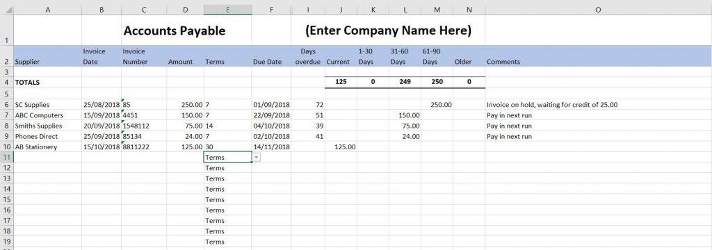Accounts Payable Template