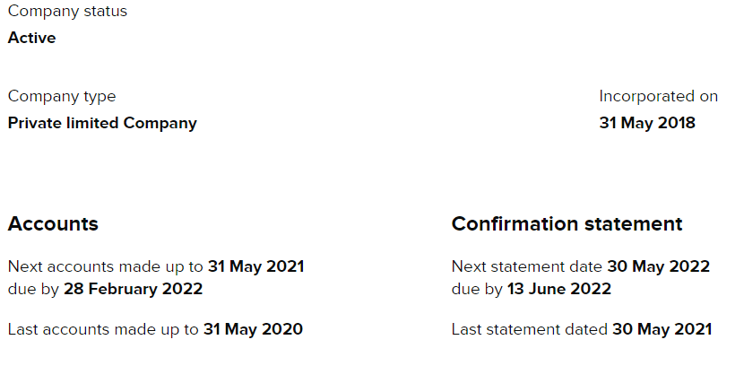 Example of Companies House Limited Company Dates