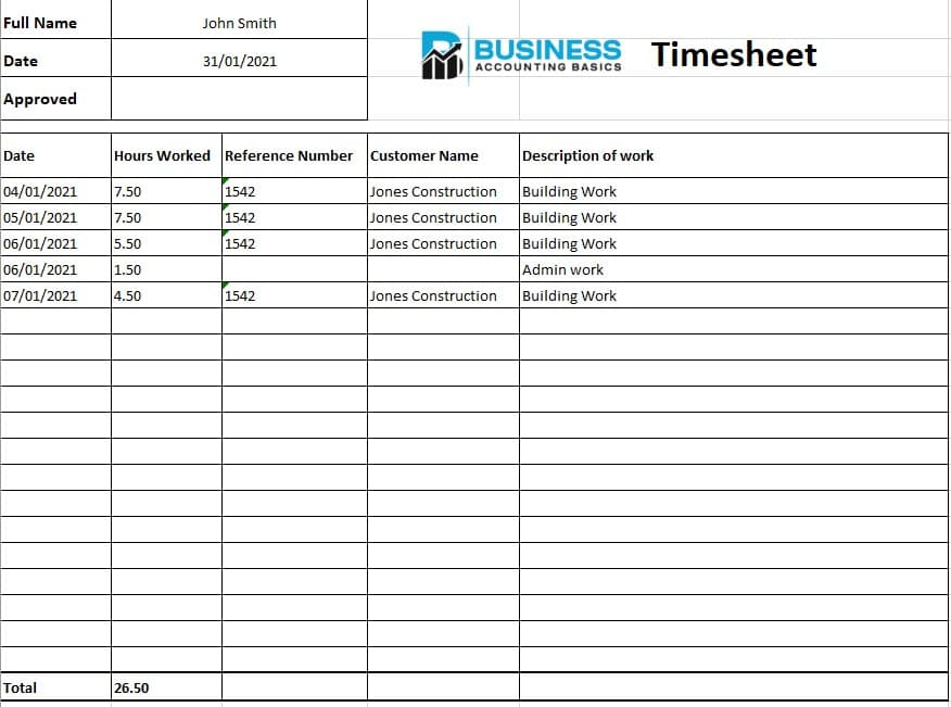 Excel Timesheet Template Example
