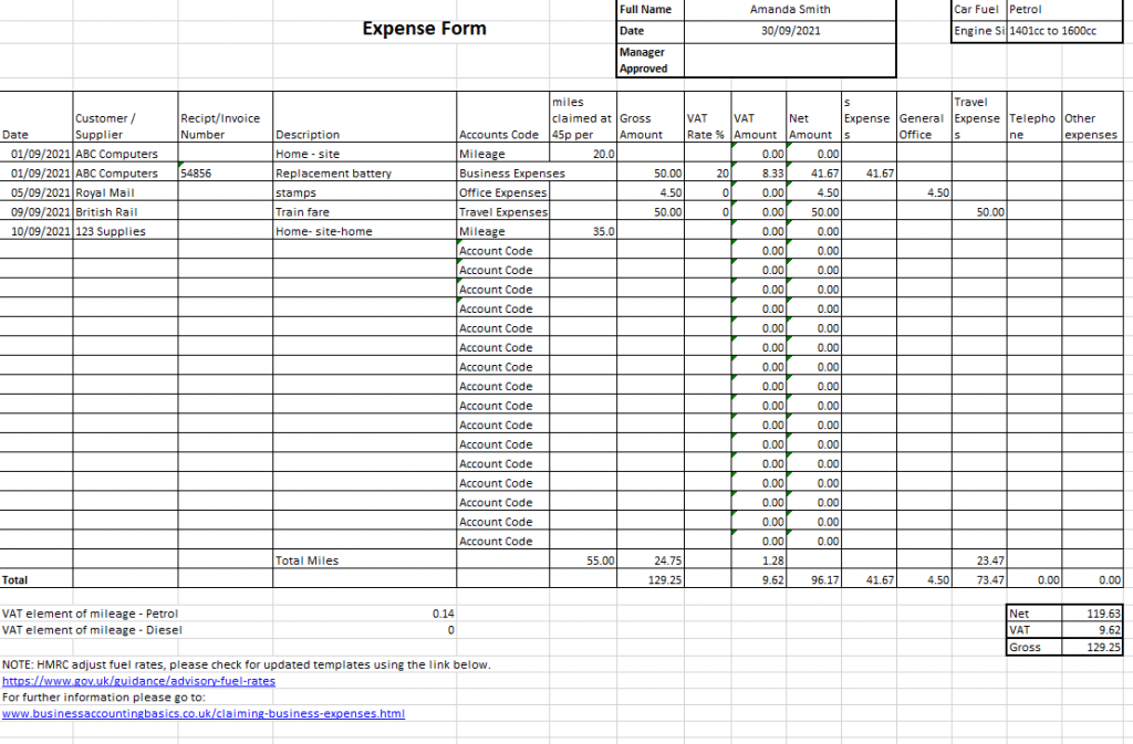 Expenses Spreadsheet UK Example