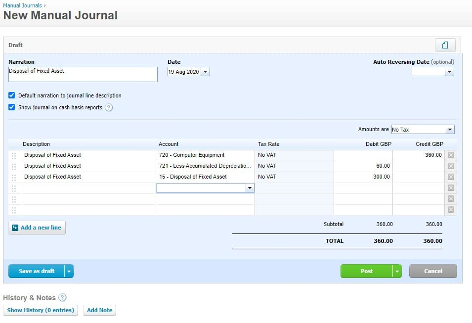 Disposal of fxed assets journal example