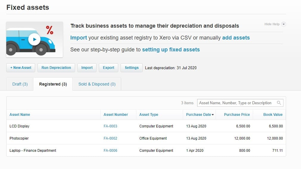 Xero Fixed Asset register example