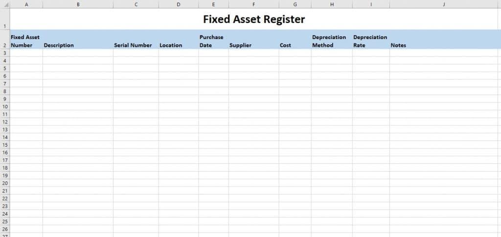 Fixed Asset Register Template Spreadsheet Excel