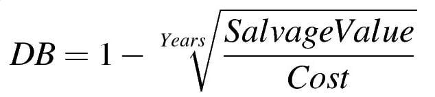 Formula for reducing balance method depreciation
