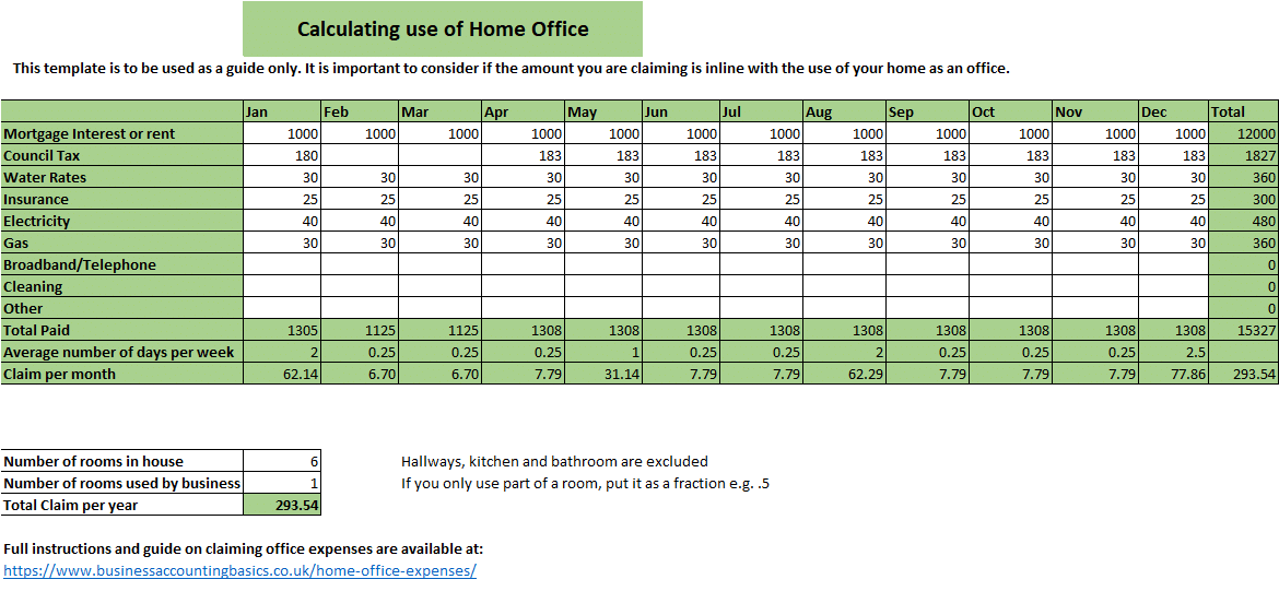Calculating home office expenses Excel Template