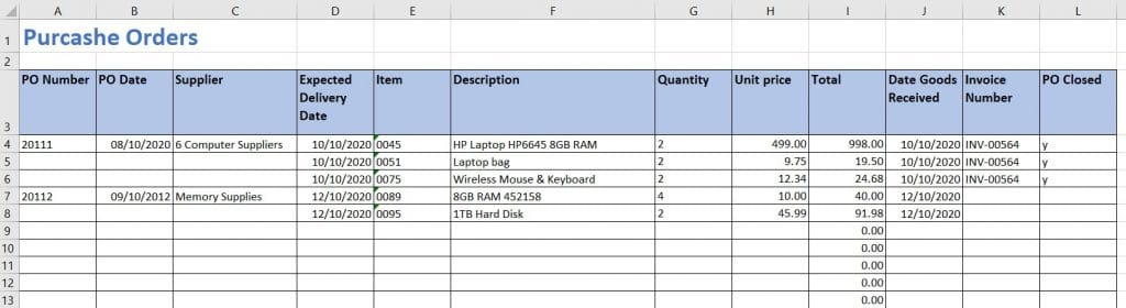 Purchase Order Log Example