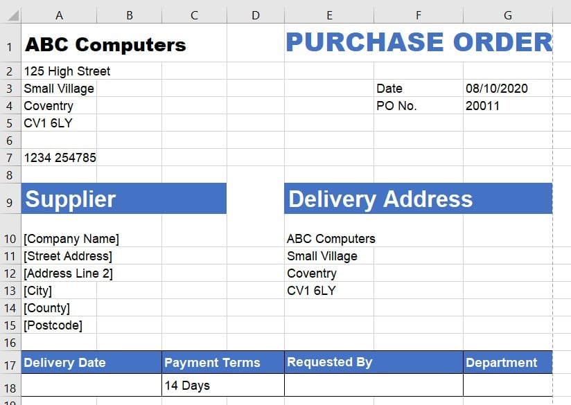 Purchase Order Template Instructions