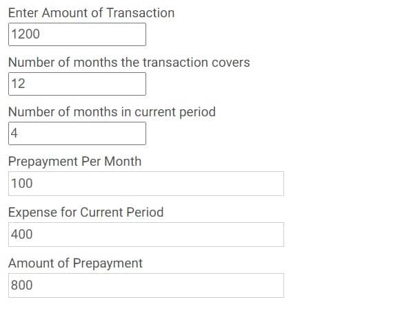 Prepayments Calculator Example