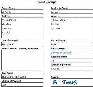 Rent Receipt Template Example