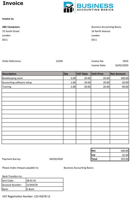 Sales Invoice Template UK VAT example