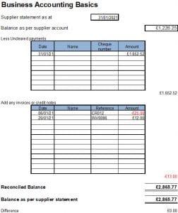 Supplier Statement Reconcilation Template Excel
